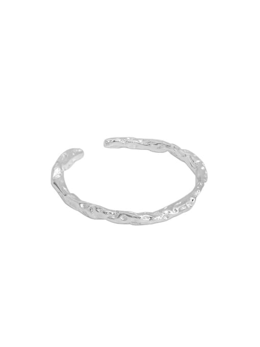 Silver [14 adjustable] 925 Sterling Silver Round Minimalist Band Ring